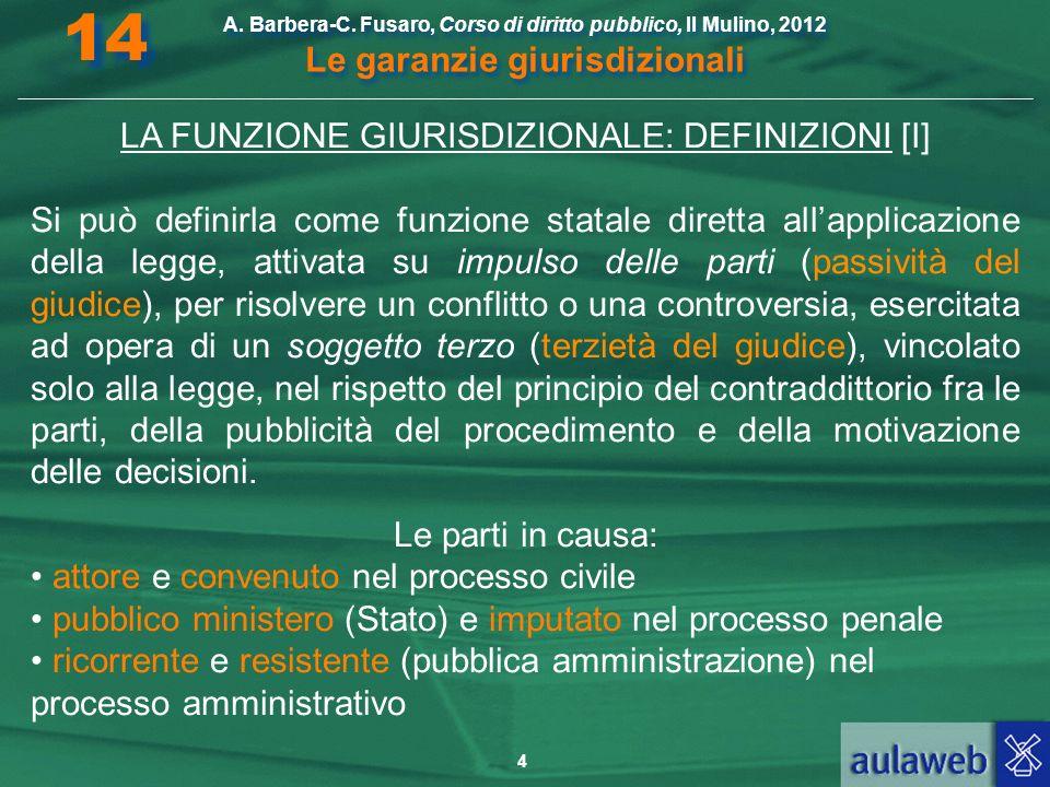LA FUNZIONE GIURISDIZIONALE: DEFINIZIONI [I]